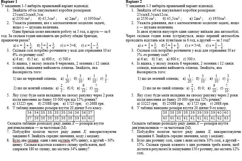 контрольна елементи прикладної математики